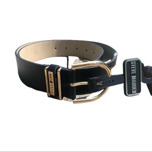 🆕 STEVE MADDEN Black and Gold Belt Large